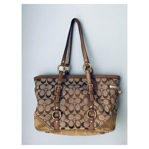 Coach Signature jacquard monogram tote bag purse